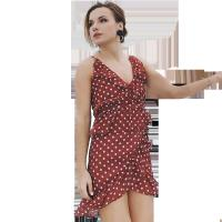 Quality 207727 2018 New Western Wave Point Design Women Mini Sexy Deep V-neck Chiffon Dresses for sale