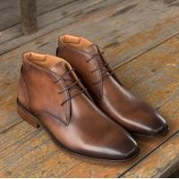 Quality Chukka Suede Leather Mens Leather Casual Shoes Brown Mens Lace Up Dress Boots for sale