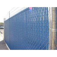 This is a chain link fence with blue slats.