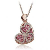 Buy cheap Heart crystal women necklace wedding pendant necklaces gold plated 4 colors from wholesalers