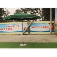 Quality Green Large Square Umbrella With 50 Kg Marble Base , Square Steel Tube Frame for sale