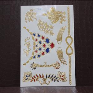 Quality 3D metallic foil tattoo fake 3D jewel tattoo sticker for sale