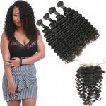 Quality Unprocessed Authentic Brazilian Hair Extensions 4 Bundles With 4 * 4 Lace  Closure for sale