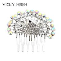 Quality VICKY.HSIEH Siver Tone Luxury Peacock Pave Crystal AB Rhinestone Hair Comb for sale