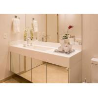 China White Nano Glass Bathroom Vanity Countertops With Sink / Cabinet on sale
