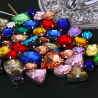 Quality Pear/triangle/rectangle/ellipse metal setting sew on chaton jewelly rhinestone for sale
