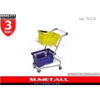 China High Grade Steel Supermarket Shopping Trolley Cart For Two Plastic Baskets on sale