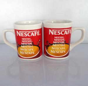 wholesale Export NESCAFE ceramic mug custom  LOGO 9OZ red colors coffee mug