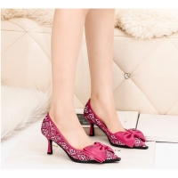 Quality 6899-6 Europe And The United States Sexy Pointed Shallow Mouth High Heels Bow Knot Was Thin Net Celebrity Women'S Single for sale
