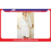 Quality Polyester Super Soft Fabric Womens Dressing Gown / White Coral Fleece Bathrobe for sale