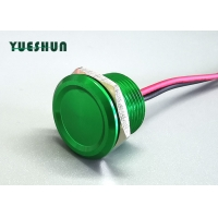 Quality Green Flathead 22mm 15cm Wire Momentary Piezo Touch Switch for sale