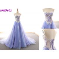 Quality Sexy Formal Satin A Line Wedding Dress / Fashion Purple Sleeveless Bridal Gowns for sale