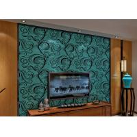 Quality Luxury Soundproof Velvet Flock Wallpaper / 3D Wall Covering With 0.7*10M Size , Eco Friendly for sale