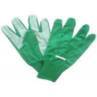 Cotton / Poly Garden Working Glovs With Knit Wrist & Green Pvc Dots On Palm