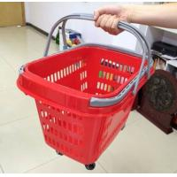 Quality Red Rolling Plastic Shopping Trolley Basket / Portable Storage Basket With Wheels for sale