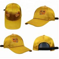 Quality Yellow Girls 6 Panel curved Cap / Custom Embroidered Baseball CapsPlain Pattern for sale