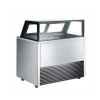 Quality 7 Pans Stainless Steel Ice Cream Showcase Freezer with Auto Defrost for sale