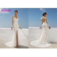 Quality Beach Lace A Line Wedding Dress Appliques Long Sleeves Slit Side Lvory for sale