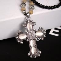 Quality Factory jewelry Direct Sale  popular new black bead opal cross necklace with long chain for sale