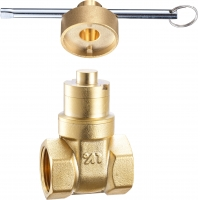Quality 3104 Female Threaded Water Meter Brass Gate Valve Magnetic Lockable by Round Pattern Headed Tool DN15 DN20 DN25 DN32 for sale
