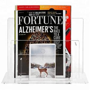 China Elegant Acrylic Brochure Stand Clear Acrylic Magazine Display Rack Simple Design on sale