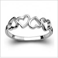 Quality Beautiful heart rings silver plated women ring  TJ0011 for sale