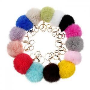 China Charm Rex rabbit fur pompom keychain/fake fur pompom /handbag fur pompom on sale