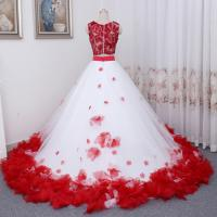 Buy Vintage Two Pieces Ball Gown Prom Dresses Applique Flowers Evening Dress at wholesale prices