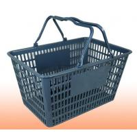 Quality Grey Waterproof Supermarket Plastic Shopping Basket With Handles for sale