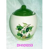Olive Design Ceramic Cookie Jar With Small Porcelain Spoon 9.5 X 9.5 X 13 Cm