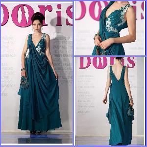 Quality 2012 Special Design V Neck Ruffle Appliue Beaded Floor Length Evening Dresses for Veiled (XZ-131) for sale