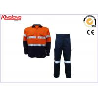 China Customize Mens Hi Vis Clothing Safety Cotton Twill Fabric Long Sleeve Shirt And Pants on sale