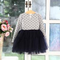 Quality Pure cotton long sleeve dot net yarn princess dresses of the girls for sale