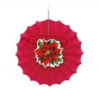 Quality Christmas Home Decorations Paper Fan Round Folding Fans Hanging Party for sale