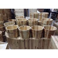 Quality Eco Friendly Small Wooden Bucket / Durable Wooden Water Bucket Without Lid for sale