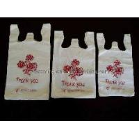 China HDPE White T-Shirt Bags With Printing on sale