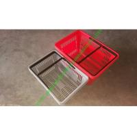 Buy Supermarket PP Plastic Hand Shopping Basket With Double Flat Hand at wholesale prices
