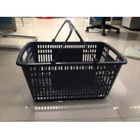 Buy Retail Store Plastic Shopping Basket With Handle Grip / Food Shopping Cart at wholesale prices