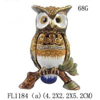 Quality Fashion Metal Alloy Pewter Rhinestone Crystal Enamel Eagle Trinket Jewelry Box for sale