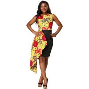 Quality Dashiki African Print Dress Midi Length 100% Cotton Kitenge Design Ankara Style for sale