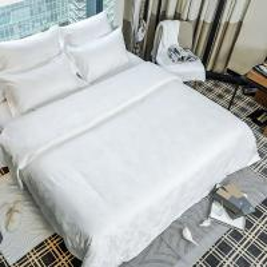 China Hot sale jacquard 100% cotton white bed sheets hotel duvet cover set comforter set on sale
