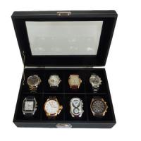 Quality 8 WATCH BLACK VELVET LEATHER OVERSIZED DISPLAY CASE STORAGE COLLECTOR BOX for sale