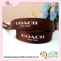 "Buy Polyester Custom Printed Grosgrain Ribbon With Brand Name Printed 3 / 8"" at wholesale prices"