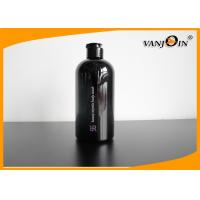Quality 500ml Boston Round Black PET Cosmetic Bottles with Flip Top Cap , Wholesale Plastic Bottles for sale