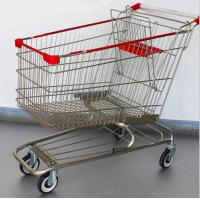 Quality Steel Grocery Carts On Wheels American Style Chromed Metal Shopping Baskets for sale