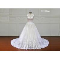 Quality Stunning Organza Lace Bridal Ball Gowns With Long Train Strapless White Color for sale
