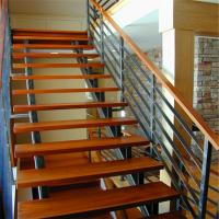 Quality Double Spine Steel Support Straight Stair Steel Wood Staircase Double Stringer Metal Stair Steel Wood Staircase for sale