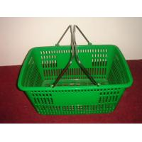Quality Green 32 Litres Hand Shopping Basket , Supermarket Wire Grocery Basket Metal Handle for sale