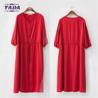Quality 100% cotton long casual red color plus size designs cheap women dresses pictures office dress for ladies made in China for sale