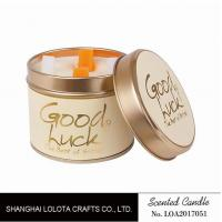 Buy Really Good Smelling Scented Tin Candles With Round And Top Printing Sticker at wholesale prices